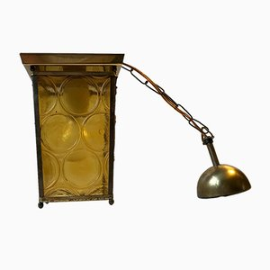 Danish Brass & Yellow Glass Funkis Ceiling Lamp, 1950s