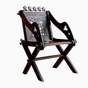 Antique Glastonbury Gothic Heavily Carved Chair, 1890s