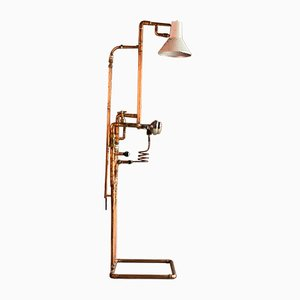 Industrial Steampunk Copper Piping & Gauges Floor Lamp, 1980s