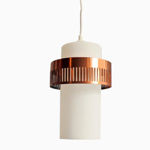 Vintage Opaline and Coppered Metal Ring Ceiling Lamp, 1950s