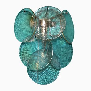 Applique Mid-Century in vetro di Murano bianco con dischi iridescenti e madreperlati, set di 2