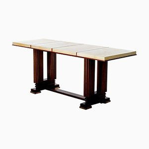 Vintage Art Deco Mahogany and Velum Console Table by Gauthier-Poinsignon