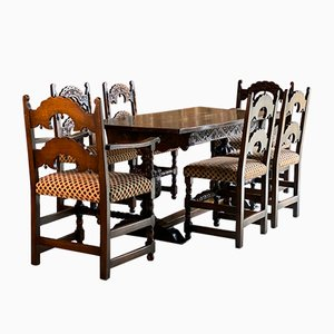 Oak Refectory Dining Table & Chairs Set, 1950s, Set of 7