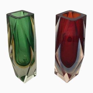 Mehrfarbige Mid-Century Murano Sommerso Glasvase Kollektion von Flavio Poli, 2er Set