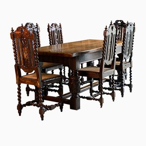 Oak Refectory Dining Table & Carolean Chairs Set, 1950s, Set of 7