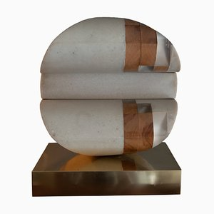 Italian Abstract Sculpture in Marble, Wood & Lucite on a Brass Base by Gabriele Perugini, 1978