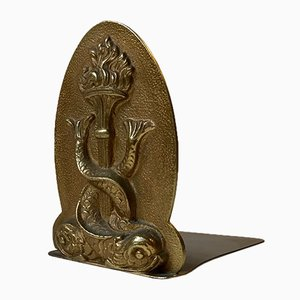 Chinese Bronze Monogram Bookend with Dolphins, 1930s