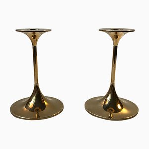 Model Hi-Fi Brass Candlesticks by Max Brüel for Torben Orskov, 1960s, Set of 2