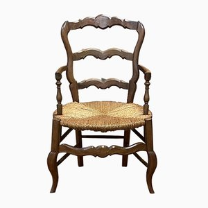 Vintage Louis XV Style Rustic Armchair in Cherry
