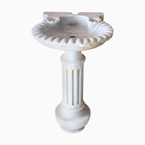 Italian Marble Shell Sink with Column, 1900s