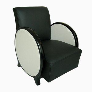 Art Deco Black and White Lounge Chair with Round Armrests, 1930s