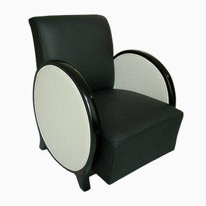 Art Deco Sessel in Schwarz & Weiß mit runden Armlehnen, 1930er