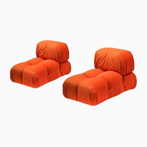 Vintage Orange Velvet Camaleonda Lounge Chairs by Mario Bellini for B&B Italia / C&B Italia, 1970s, Set of 2