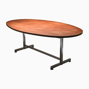 Mid-Century Oval Rosewood Veneer Dining Table by Jules Wabbes for Mobilier Universel, 1960s