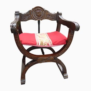 Vintage Carved Wooden Club Chair