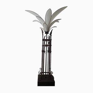 Mid-Century Stehlampe mit Palmen Blütenblättern und Eisenrahmen