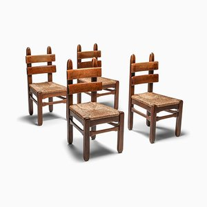 Vintage Rustic Oak and Cord Dining Chairs, 1930s, Set of 4