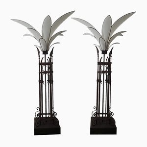 Mid-Century Palm Iron Fabric Floor Lamps, Set of 2