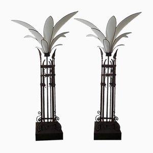 Mid-Century Palm Iron Fabric Floor Lamps, Set of 2