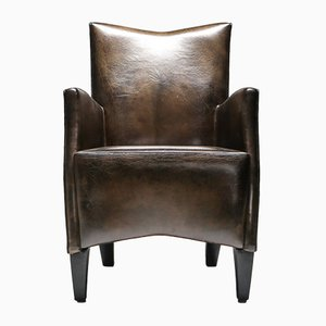 Vintage Brown Gray Sheep Leather Armchair by Bart Van Bekhoven, 1970s