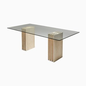 Postmodern Travertine Dining Table in the Style of Scarpa, 1980s