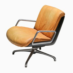 Vintage Cognac Leather Lounge Chair from Saporiti Italia, 1970s