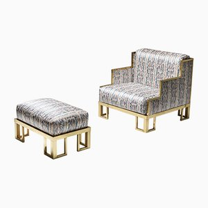 Vintage Brass Lounge Chair and Ottoman Set in the Style of Gabriella Crespi, 1970s