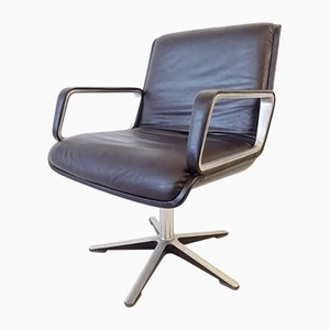 Black Leather Model 2000 Swivel Chairs by delta design for Wilkhahn, 1960s, Set of 2