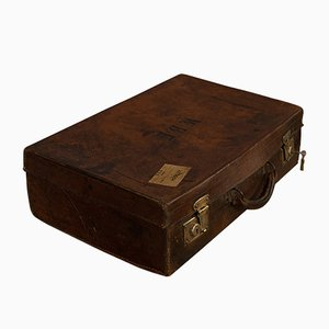 Antique Edwardian English Leather Travel Suitcase, 1910s