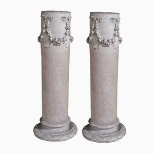 Antique Terracotta Columns, Set of 2
