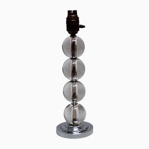 Vintage Crystal and Chromed Metal Table Lamp by Jacques Adnet
