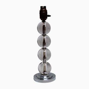 Vintage Tischlampe aus Kristallglas & Verchromtem Metall von Jacques Adnet