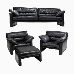 Vintage Leather Living Room Set from WOH, Set of 4