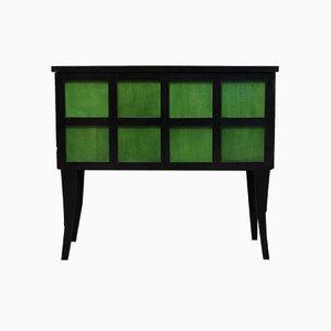 Französisches Art Deco Pergament Sideboard aus Smaragdgrünem und Schwarzem Holz, 1940er