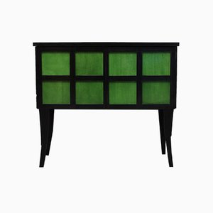 French Art Deco Parchment Emerald Green and Black Wood Sideboard, 1940s