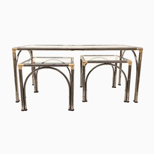 Vintage Faux Bamboo Coffee Tables, Set of 3
