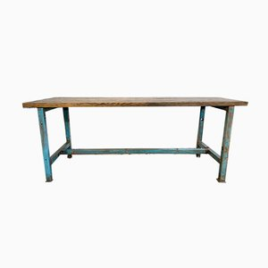 Vintage Industrial Blue Dining Table