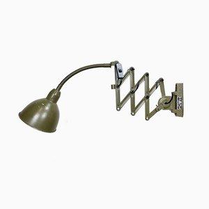 Industrielle Grüne Scheren Wandlampe von Elektroinstala, 1960er