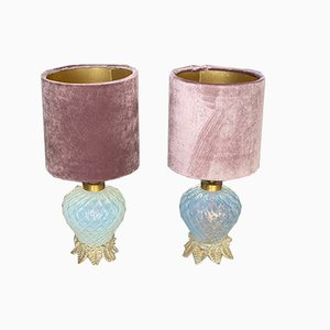 Lampade da tavolo piccole vintage in vetro di Murano di Ercole Barovier per Barovier & Toso, Italia, set di 2