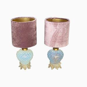 Lámparas de mesa italianas vintage pequeñas de cristal de Murano de Ercole Barovier para Barovier & Toso. Juego de 2