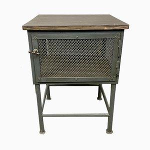 Mesa de trabajo industrial vintage gris, años 60