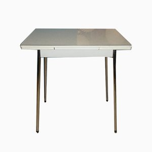 Small Mid-Century Extendable Chrome and Formica Dining Table