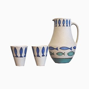 Mid-century Fish Decor Cups and Jug Set by Clare Zange for Krösselbach Fayence
