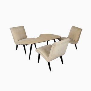 Dreibein Tisch und Stühle Set von Heinz Vetter & Jens Risom für Walter Knoll / Wilhelm Knoll, 1950er, 4er Set