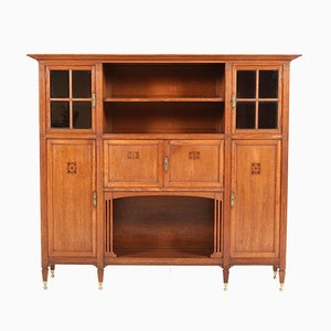 Arts & Crafts Art Nouveau Oak Bookcase with Beveled Glass, 1900s