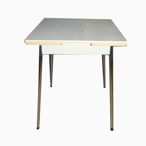 Small Mid-Century Square Extendable Chrome and Formica Dining Table