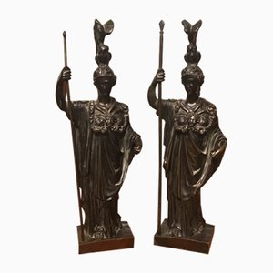 19th Century French Bronze Figures of Athena, Set of 2