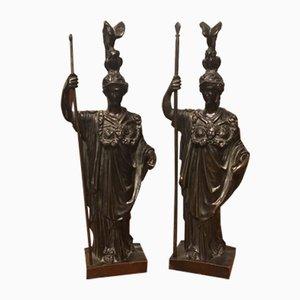 Französische Bronzefiguren von Athena, 19. Jh., 2er Set