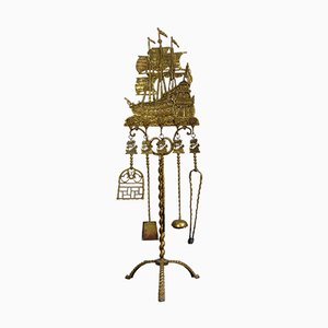 Antique Brass Maritime Decor Fireplace Set