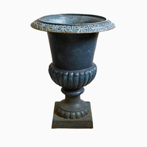Vases Amphora Antiques en Verre Bleu, 1900s, Set de 2